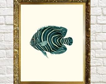 Fish Art Print, Blue Fish Bathroom Print 8 x 10, Nautical Art Prints, Coastal Art, Coastal Living Art
