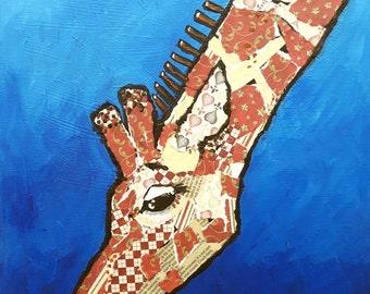 "Original mixed media canvas painting ,giraffe,fun, ""Who ate the last flower?"""