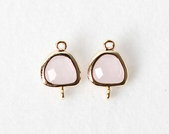 2032081 / Ice Pink / 16k Gold Plated Brass Framed Glass Connector 8.2mm x 12mm / 0.3g / 2pcs