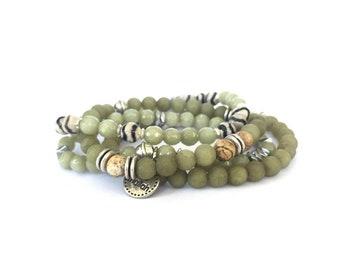 Mallah Bracelet Set, Green Jade Bracelets Set, Womens Bracelet, Boho Jewelry, Gift For Her, Tassel Bracelet, Beaded Bracelet Layers Bracelet