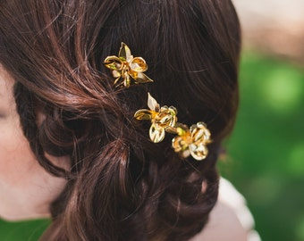 Gold Orchid Hair Pins - Gold Plated Bobby Pins