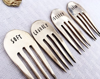 Cheese Forks, Cheese Markers, Stamped Forks, Stamped Silver, Housewarming Gift, Cheese Labels, Hostess Gift,  Stemless Forks, Cheese Gift