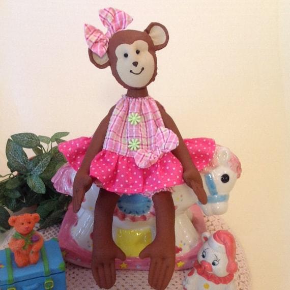 Baby Monkey - Mailed Doll Pattern Pretty Little Baby Girl Monkey sewing pattern