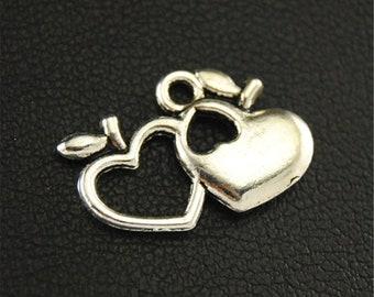 30pcs Antique Silver Hollow Apple's Heart Charms Pendant A1666
