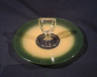 Vintage Green and Yellow Handled Tidbit Serving Tray