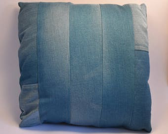 Upcycled Teal Striped Denim Cushion, Recycled Denim Decorative Pillow, Repurposed Teal Striped Denim Cushion with Pocket Detail