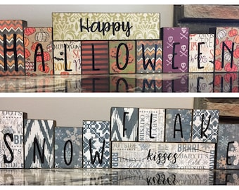 Custom Reversible Holiday Blocks