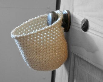 Cream Off White Hanging Storage Basket Office Organizer Doorknob Catchall Crocheted Decor Supply Holder
