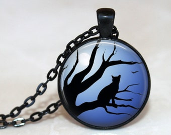 Moonlit Cat - Pendant, Necklace or Key Chain - Choice of 4 Colors - 1 Inch Round