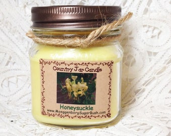 Honeysuckle Scent, Mason Jar Candle, Half Pint Candle, Spring scented, floral scented, MoeggenborgSugarBush