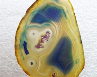 Blue Banded Agate SLICE Pendant with PINK Dots! - 58x40x5mm - Energy Enhances Mental Function, Promotes Self-Acceptance, Remove Negativity