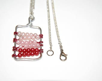Shades of red and pink - aluminium and beads - beads pendant necklace handmade