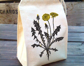 Dandelion Lunch Bag, Canvas Lunch bags, Waldorf Lunch Bag, Lunch Box, Botanical Gift, Lunch Tote, Lunch Box, Kids Cotton Canvas Lunch Bag