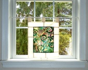 Jungle ~ Bleached Art Batik Pojagi Patchwork Window Treatment ~ boho dorm ~ bohemian cafe ~ boudoir curtain