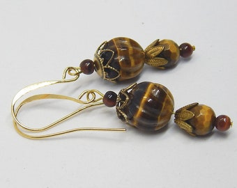 Tiger's eye Gemstone Dangle Earrings