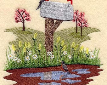 Robin Towel - Bird Towel - Springtime Towel -  Embroidered Towel - Flour Sack Towel - Hand Towel - Bath Towel - Apron