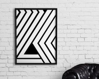 Modern minimalist  art, Printable black and white print, Large abstract art, Geometric art, Minimalist poster, Modern art