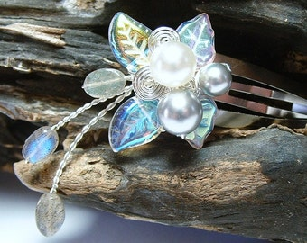 Labradorite Rainflower Hair Clip