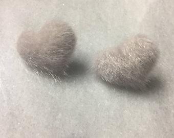Gray fuzzy heart earrings