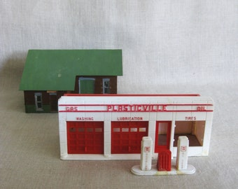 Vintage Toy Train Miniature Model Building, Architectural, Scale, Architecture, Gas Station, Warehouse, Plastic, House, Mid-Century