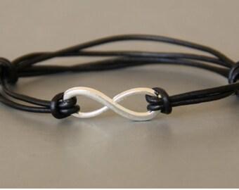 Bracelet cord, silk and metal .safety of infinite love infinite