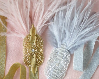 Mini Deco Flapper Headband With Beaded Applique Feather Headband Gold & Pink For Women and Children