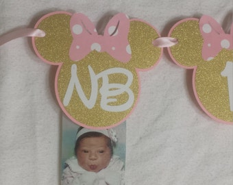 Minnie Mouse 12 months photo banner, Minnie Mouse Light Pink and Gold Party, Minnie Mouse Birthday, Minnie Mouse Banner