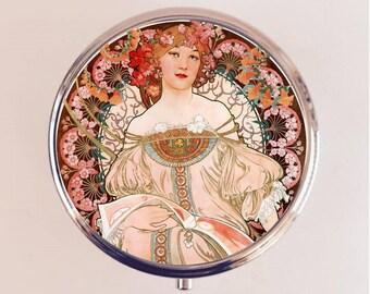 Alphonse Mucha Pill Box Case Pillbox Holder Trinket Stash Box Art Nouveau Champenois