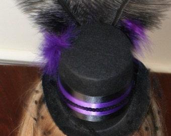 Purple Burlesque Steampunk wedding fascinator - Black mini top hat w/ veil
