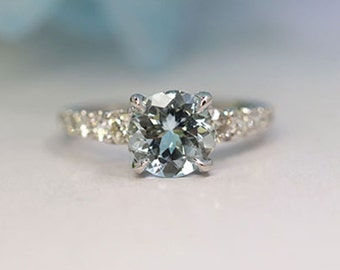 Aquamarine Engagement Ring.Diamond Engagement Ring.8mm Round Aquamarine Halo Ring.March Birthstone Ring.AAA quality Aquamarine Wedding Ring.