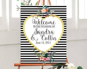 Wedding Welcome Sign, Printable, Welcome to Our Wedding Sign, Custom sign, Wedding Printables, Black And Gold