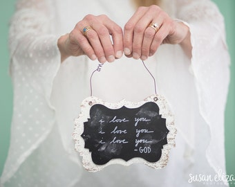 Love Wall Hanging, Chalk board sign, Farmhouse decor, I love you, God's love sign, hand lettering chalkboard art, gift for her under 20