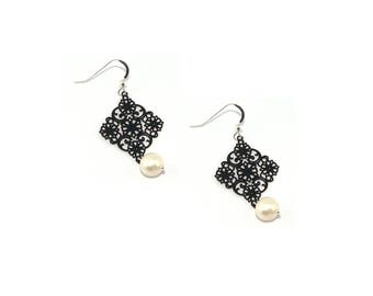 Silver 925 Earrings Bohemian black windows with natural pearl