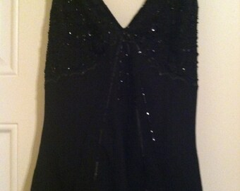 Black Beaded Halter by Chadwick;s