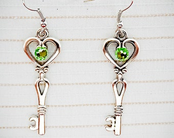 KEY EARRINGS, key jewelry, skeleton key, green crystal, dangle earrings, dangle jewelry, heart atop key