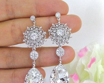 Bridal Crystal Teardrop Earrings Chandelier Earrings Wedding Earrings Swarovski Crystal Floral Earrings Bridesmaids Gift (E123)