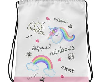 Sunshisne, lollipops, rainbows and unicorns Drawstring bag, Unicorn tote bag, Ombre hair fashion Illustration backpack purse