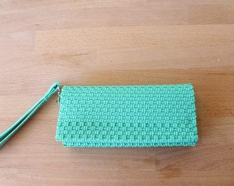 Aqua Mexican Plastic / Leather Wallet