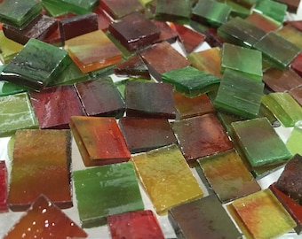 75 Odd GREEN & RED AMBER Stained Glass Mosaic Tile  i-7