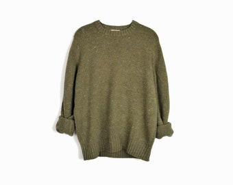 Vintage 80s Army Green Wool Sweater by Banana Republic / Men's Crewneck Sweater - men's large