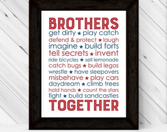 Twin Boys Nursery art, Brothers Subway decor, Boys bedroom decor, brothers wall art, children's prints