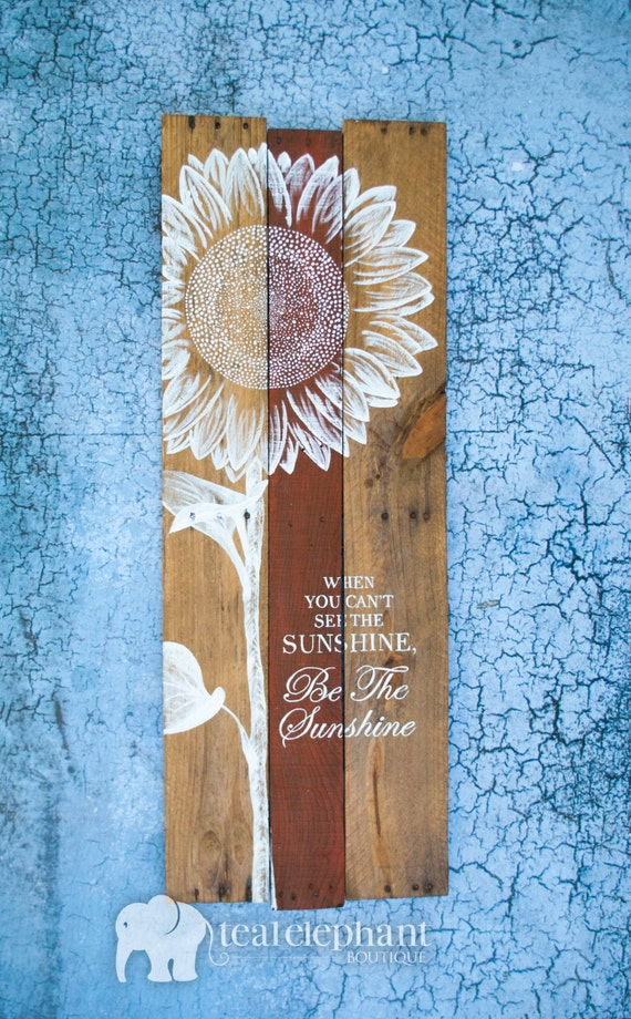 Pallet Art Sunflower Welcome Home Wall Hanging Rustic Shabby