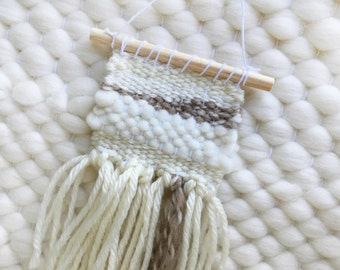 MINI Woven Wall Hanging / Woven Wall Art Tiny / Miniature Weaving / Neutral, Ivory, Tan, Brown, White, Wool, Natural