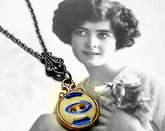 Antique China BUTTON necklace, Victorian stencil with blue on brass chain. One-of-a-kind button jewellery.