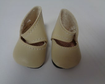 Teeny Tiny Ivory Mary Jane button Strap Doll Shoes  Vintage Doll Shoes-Size 8