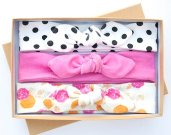 Baby Knot Headband Set of Three - Baby Girl Headwrap, Toddler Turban, Infant Bow, Girl's Headband - Organic Cotton - Floral Headband