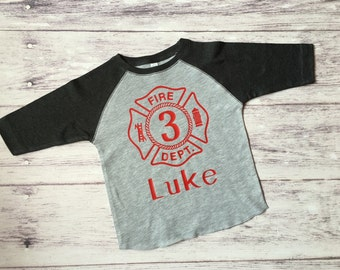 Fireman birthday shirt, Firetruck birthday shirt,  Firetruck t-shirt, firetruck birthday party, firefighter party, firefighter shirt