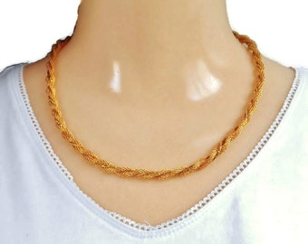 Shiny Gold Chain Necklace Twisted Braided Rope Thin Flat Link Weaved Gold Mesh Vintage Retro Costume Jewelry