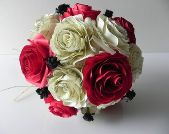 Elegant Red, Cream and Black Wedding Bouquet and Groom Boutonniere - Bride Roses wedding bouquet Bridal flowers Japanese Alternative bouquet