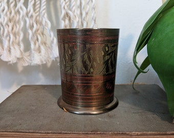Brass Cup with Etchings, Midcentury Brass Cup, Minimalist Brass Cup